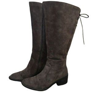 Born Felicia Grey Suede Leather High Boots 8.5